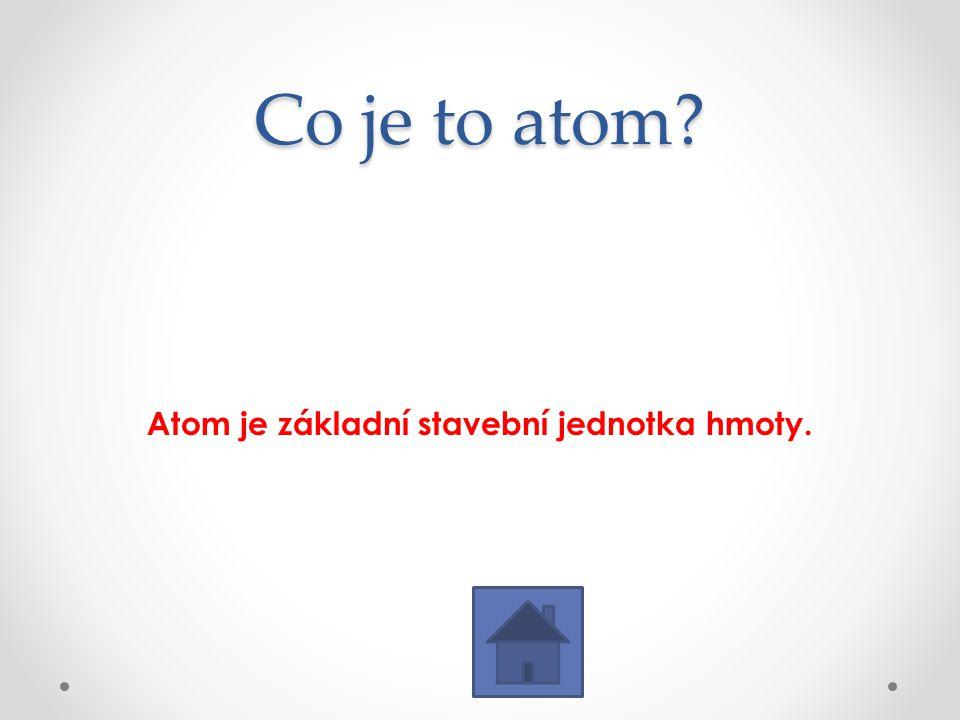 Co je to atom? Atom je základní stavební jednotka hmoty.