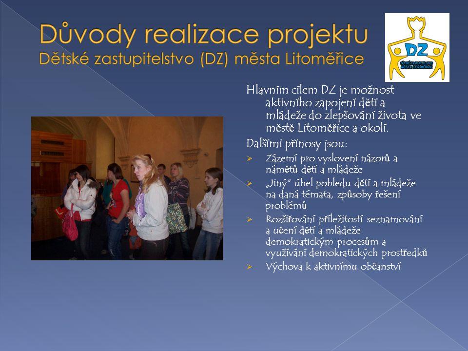 Hlavním cílem DZ je možnost aktivního zapojení d ě tí a mládeže do zlepšování života ve m ě st ě Litom ěř ice a okolí.
