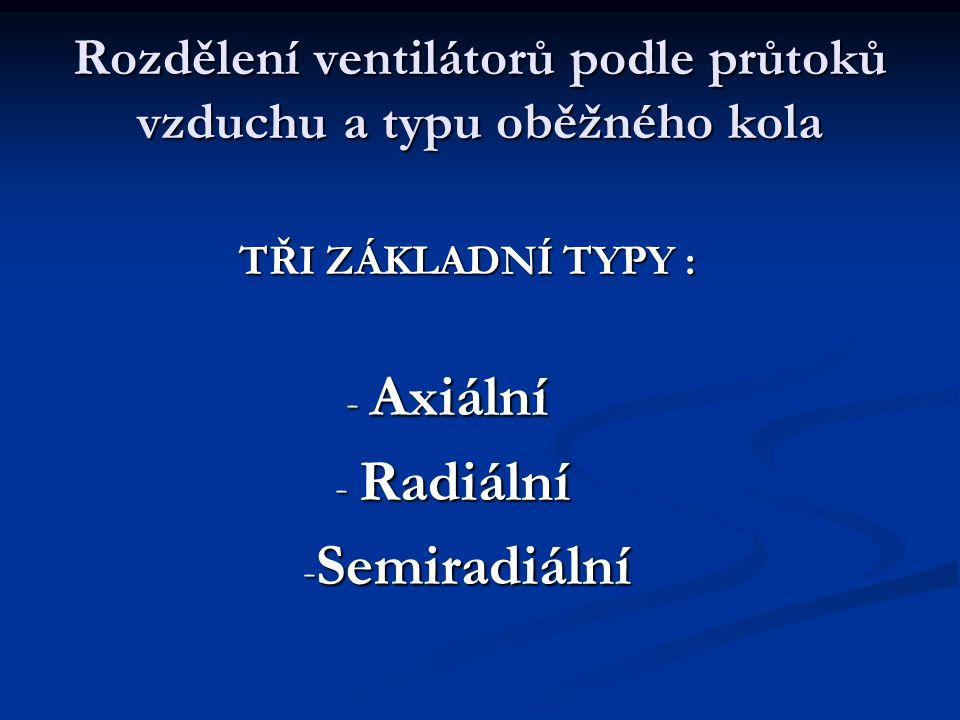Rozdělení ventilátorů podle průtoků vzduchu a typu oběžného kola TŘI ZÁKLADNÍ TYPY : TŘI ZÁKLADNÍ TYPY : - Axiální - Axiální - Radiální - Radiální - S