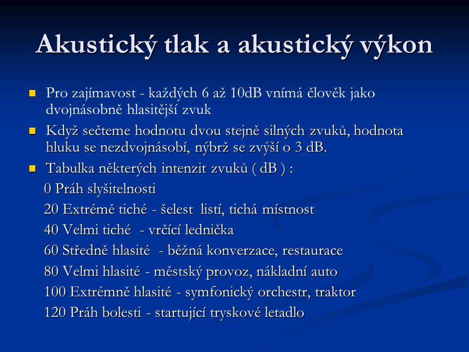 Akustický tlak a akustický výkon Pro zajímavost - každých 6 až 10dB vnímá člověk jako dvojnásobně hlasitější zvuk Když sečteme hodnotu dvou stejně sil