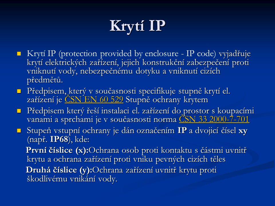 Krytí IP vyjadřuje krytí elektrických zařízení, jejich konstrukční zabezpečení proti vniknutí vody, nebezpečnému dotyku a vniknutí cizích předmětů. Kr