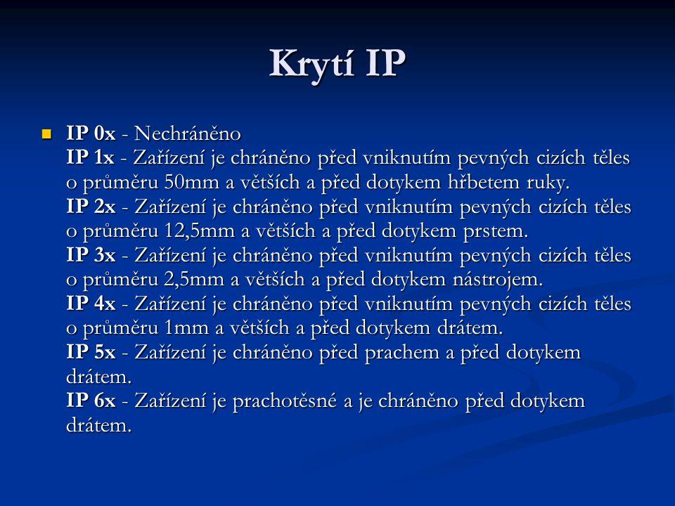 Krytí IP IP 0x - Nechráněno IP 1x - Zařízení je chráněno před vniknutím pevných cizích těles o průměru 50mm a větších a před dotykem hřbetem ruky. IP