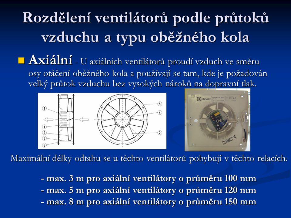 Rozdělení ventilátorů podle průtoků vzduchu a typu oběžného kola Axiální - U axiálních ventilátorů proudí vzduch ve směru osy otáčení oběžného kola a