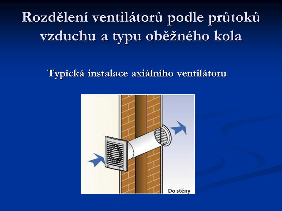Rozdělení ventilátorů podle průtoků vzduchu a typu oběžného kola Typická instalace axiálního ventilátoru Typická instalace axiálního ventilátoru