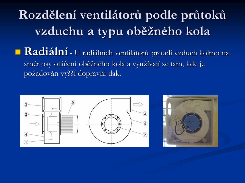 Rozdělení ventilátorů podle průtoků vzduchu a typu oběžného kola Radiální - U radiálních ventilátorů proudí vzduch kolmo na směr osy otáčení oběžného