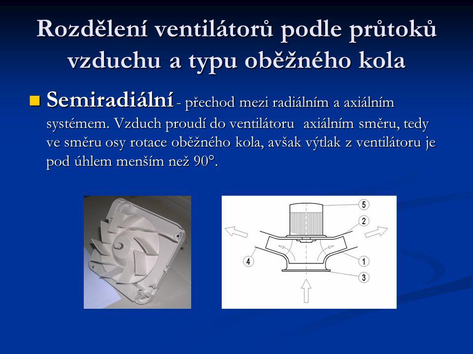Rozdělení ventilátorů podle průtoků vzduchu a typu oběžného kola Semiradiální - přechod mezi radiálním a axiálním systémem. Vzduch proudí do ventiláto