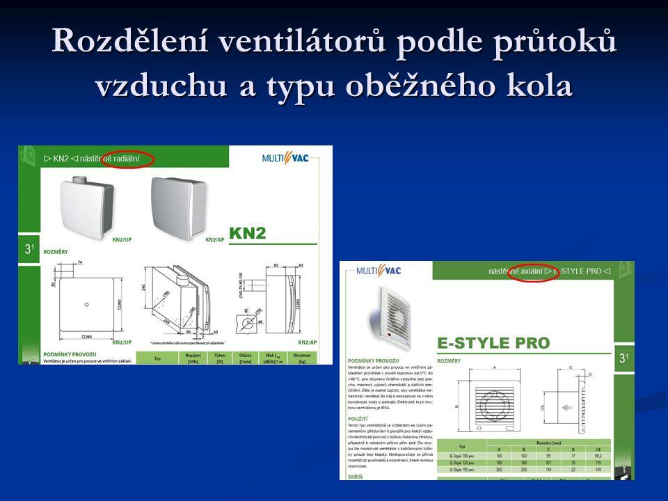 Pracovní bod ventilátoru Pokud chceme dosáhnout vysokého tlaku vzduchu lze zařadit ventilátory sériově za sebe.