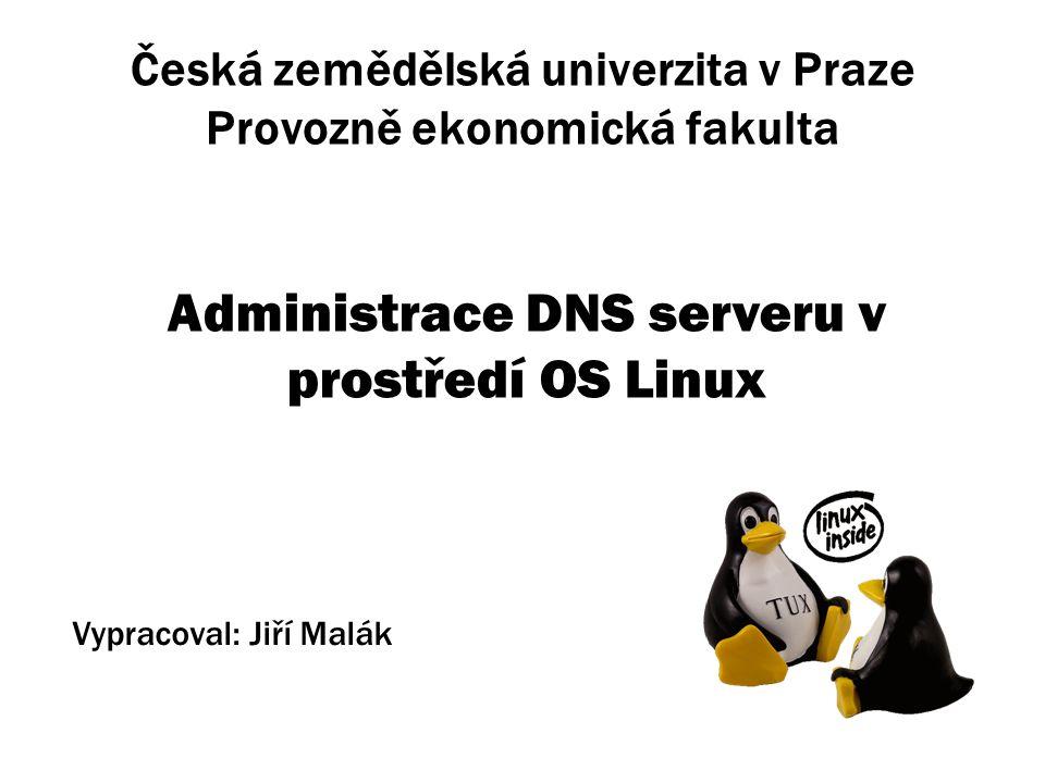 Česká zemědělská univerzita v Praze Provozně ekonomická fakulta Administrace DNS serveru v prostředí OS Linux Vypracoval: Jiří Malák