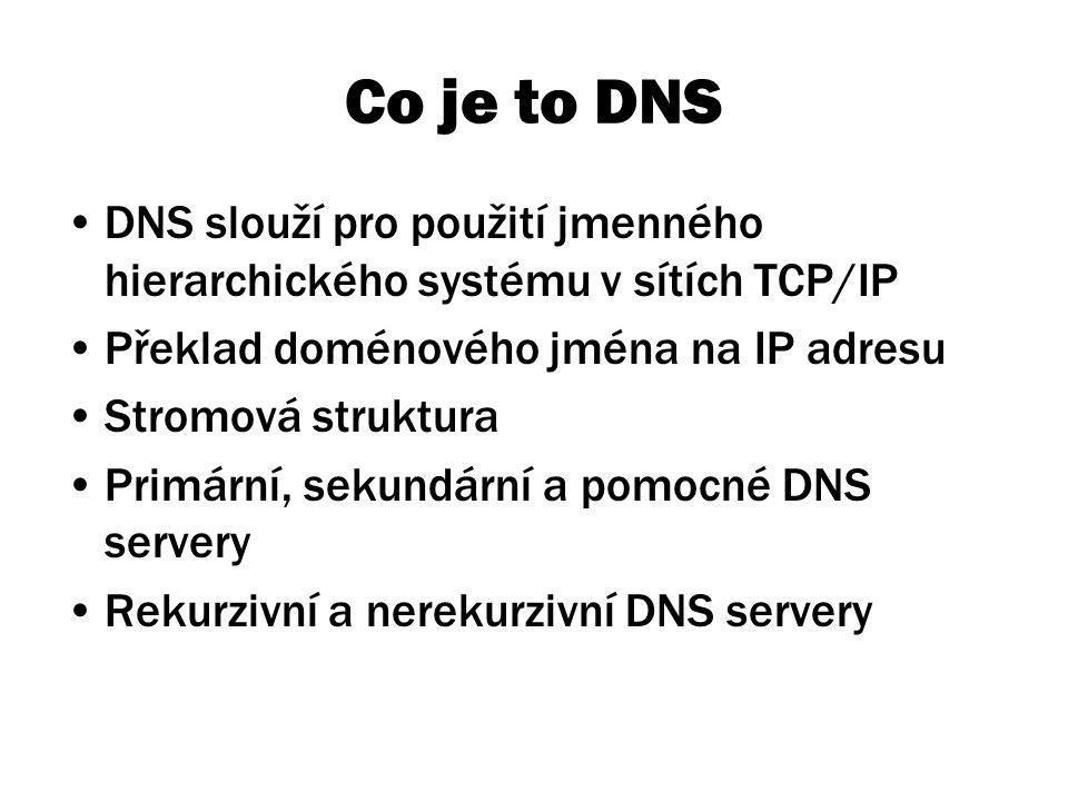 Co je to DNS DNS slouží pro použití jmenného hierarchického systému v sítích TCP/IP Překlad doménového jména na IP adresu Stromová struktura Primární, sekundární a pomocné DNS servery Rekurzivní a nerekurzivní DNS servery