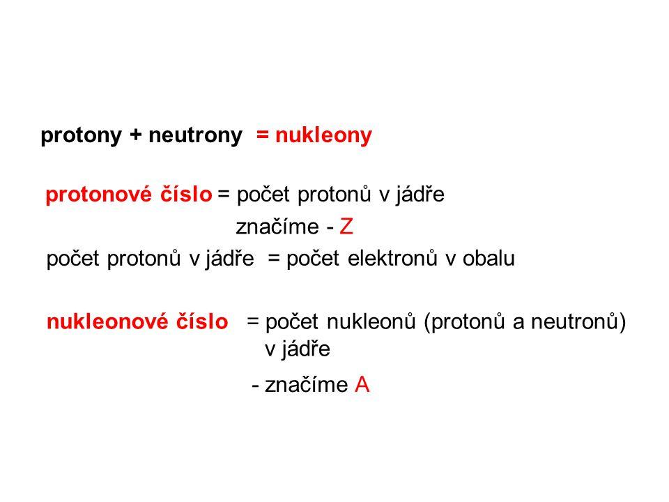 protony + neutrony = nukleony protonové číslo = počet protonů v jádře = počet elektronů v obalu počet protonů v jádře nukleonové číslo= počet nukleonů