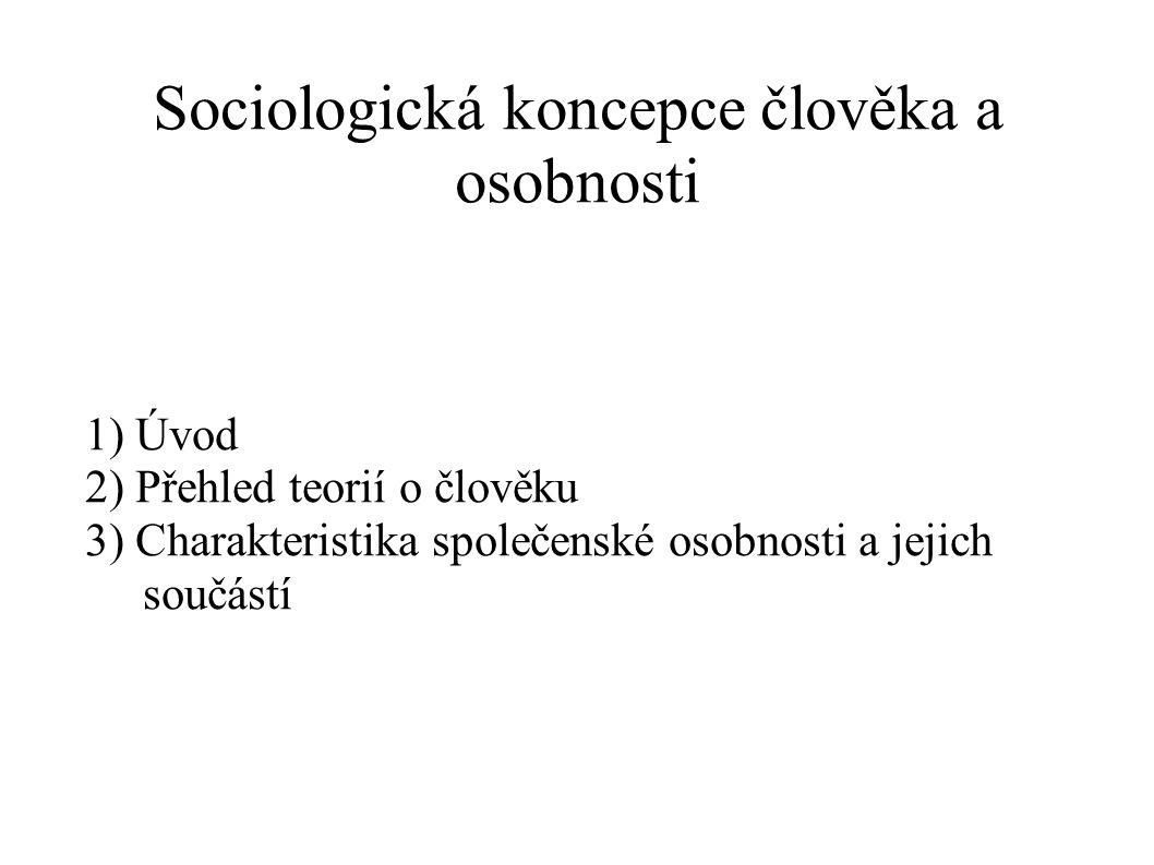 Sociologická koncepce člověka a osobnosti 1) Úvod 2) Přehled teorií o člověku 3) Charakteristika společenské osobnosti a jejich součástí