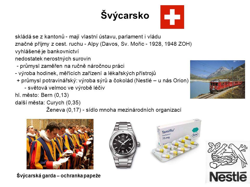 Švýcarsko skládá se z kantonů - mají vlastní ústavu, parlament i vládu značné příjmy z cest. ruchu - Alpy (Davos, Sv. Mořic - 1928, 1948 ZOH) vyhlášen