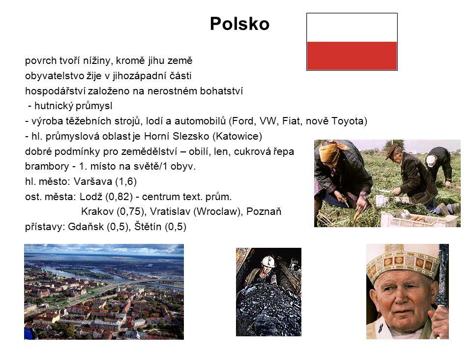 Polsko povrch tvoří nížiny, kromě jihu země obyvatelstvo žije v jihozápadní části hospodářství založeno na nerostném bohatství - hutnický průmysl - vý