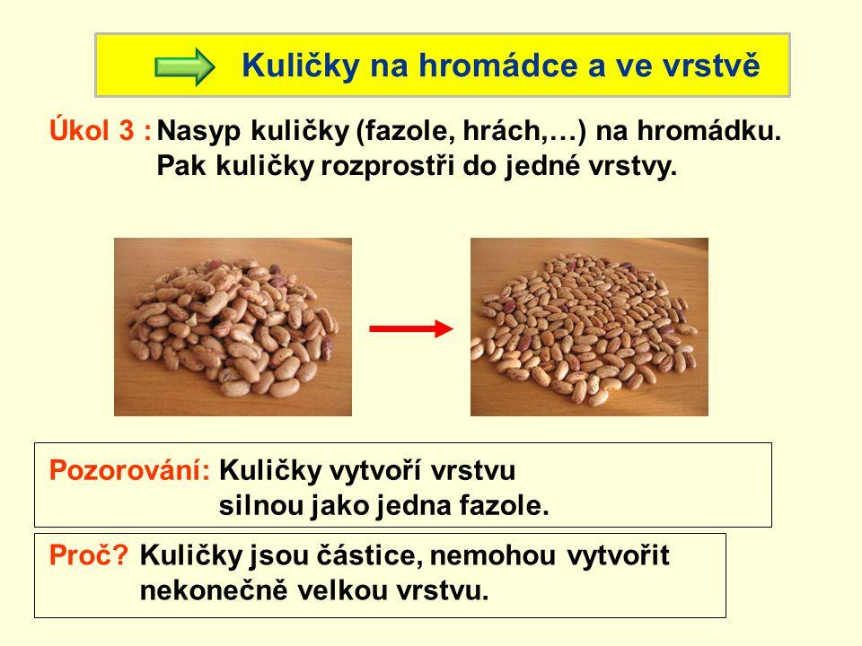 Kuličky na hromádce a ve vrstvě Úkol 3 : Pozorování:Kuličky vytvoří vrstvu silnou jako jedna fazole.