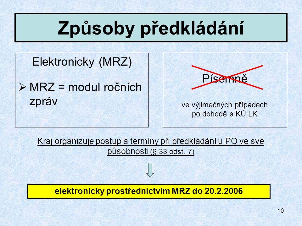 10 Způsoby předkládání Elektronicky (MRZ)  MRZ = modul ročních zpráv Písemně Kraj organizuje postup a termíny při předkládání u PO ve své působnosti (§ 33 odst.