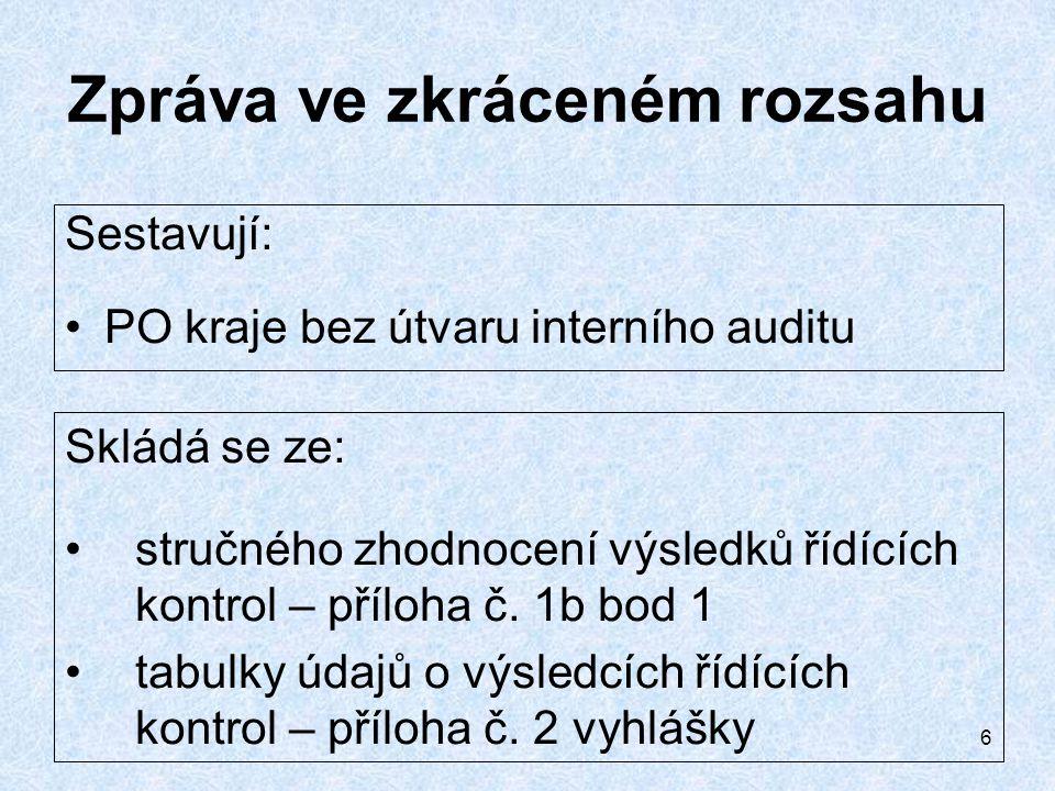 """7 Zpráva (v """"plném rozsahu) Sestavují: PO kraje s útvarem interního auditu Skládá se ze: stručného zhodnocení výsledků řídících kontrol – příloha č."""