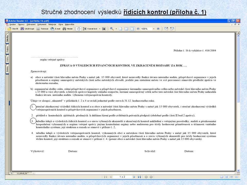 8 Stručné zhodnocení výsledků řídících kontrol (příloha č. 1)