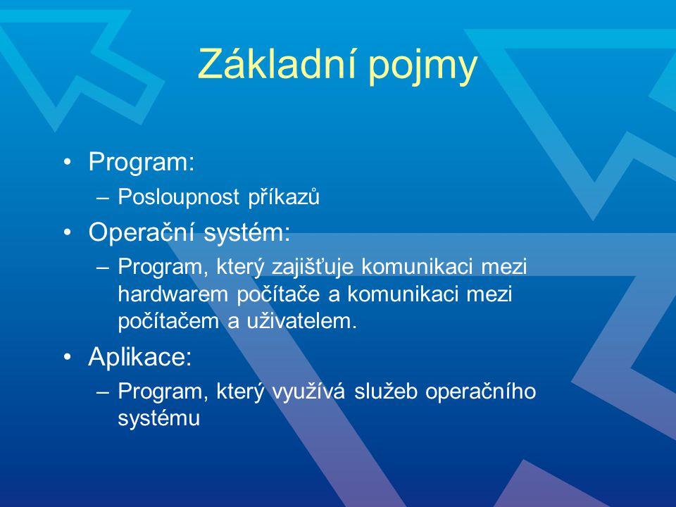 Operační systém základní programový prostředek zabezpečuje obsluhu –periferií –uživatelů –úloh požadavky na operační systém –více úloh –více uživatelů –bezpečnost uživatelů, dat, úloh –síťová podpora - sdílení zařízeni jakou jsou disky, tiskárny, CPU