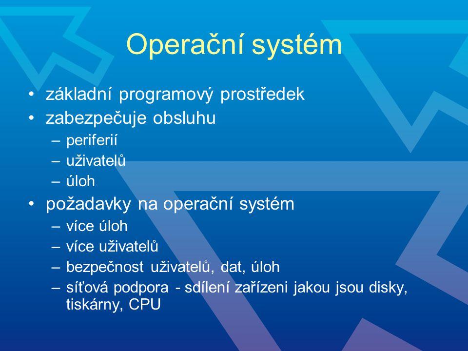 Operační systém základní programový prostředek zabezpečuje obsluhu –periferií –uživatelů –úloh požadavky na operační systém –více úloh –více uživatelů