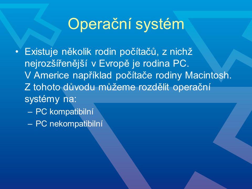 Operační systém Existuje několik rodin počítačů, z nichž nejrozšířenější v Evropě je rodina PC. V Americe například počítače rodiny Macintosh. Z tohot