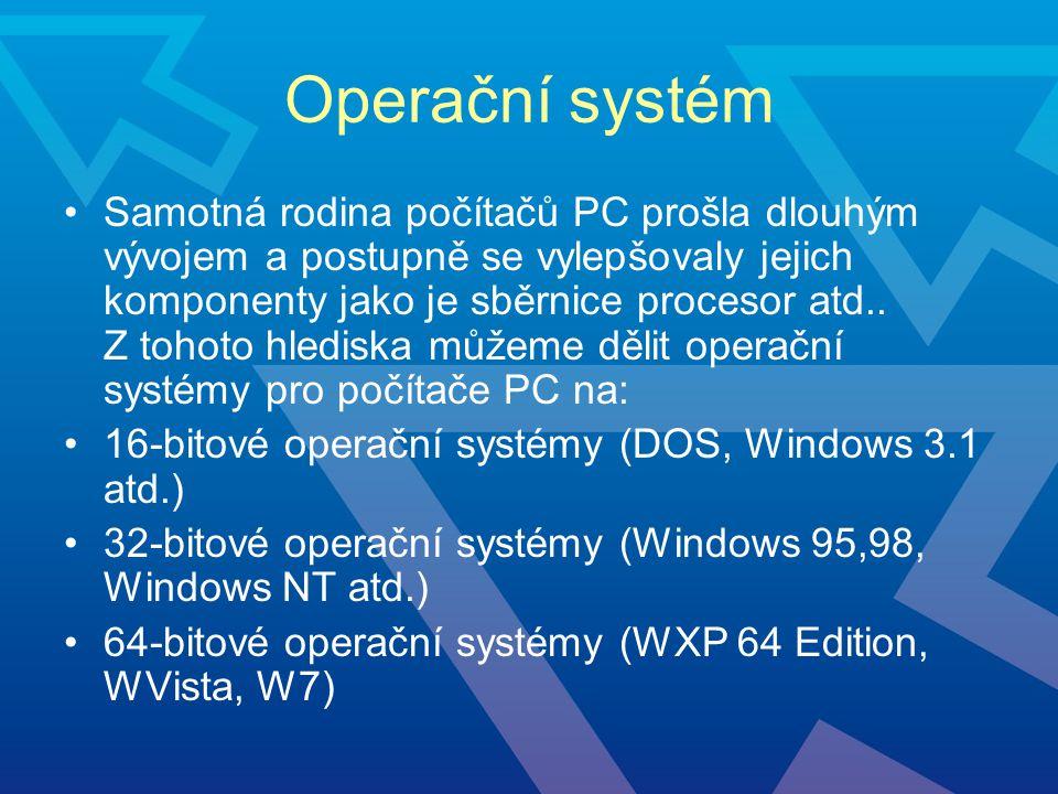 Operační systém Samotná rodina počítačů PC prošla dlouhým vývojem a postupně se vylepšovaly jejich komponenty jako je sběrnice procesor atd.. Z tohoto