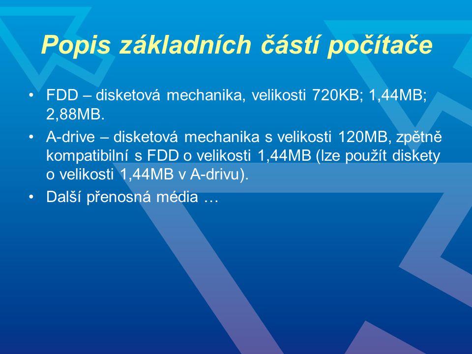 Popis základních částí počítače FDD – disketová mechanika, velikosti 720KB; 1,44MB; 2,88MB. A-drive – disketová mechanika s velikosti 120MB, zpětně ko