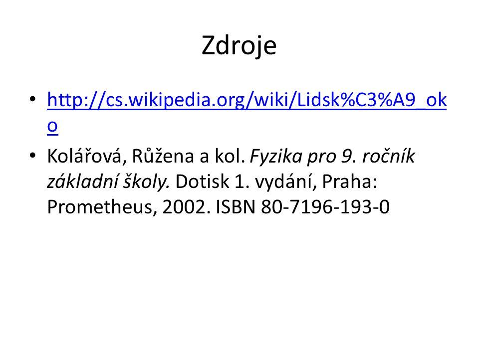 Zdroje http://cs.wikipedia.org/wiki/Lidsk%C3%A9_ok o http://cs.wikipedia.org/wiki/Lidsk%C3%A9_ok o Kolářová, Růžena a kol.
