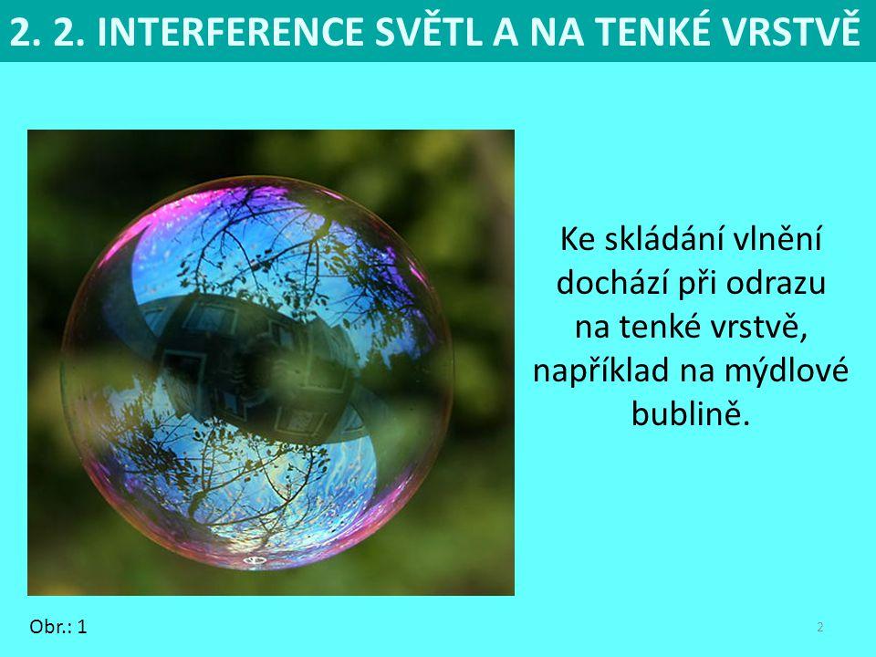2 Ke skládání vlnění dochází při odrazu na tenké vrstvě, například na mýdlové bublině.