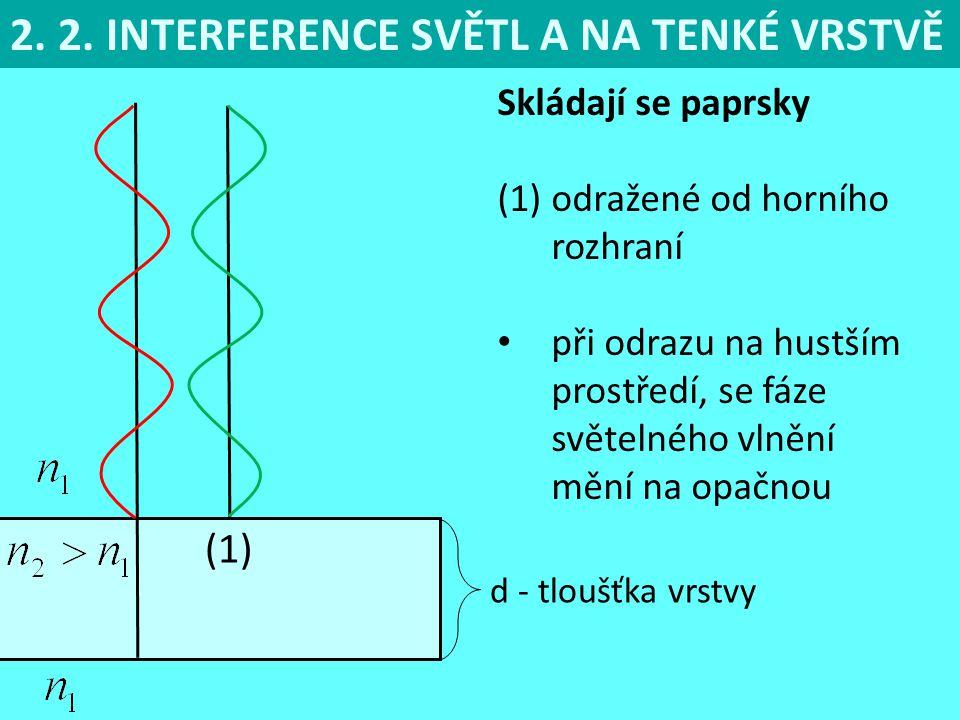 2. 2. INTERFERENCE SVĚTL A NA TENKÉ VRSTVĚ Skládají se paprsky (1)odražené od horního rozhraní při odrazu na hustším prostředí, se fáze světelného vln