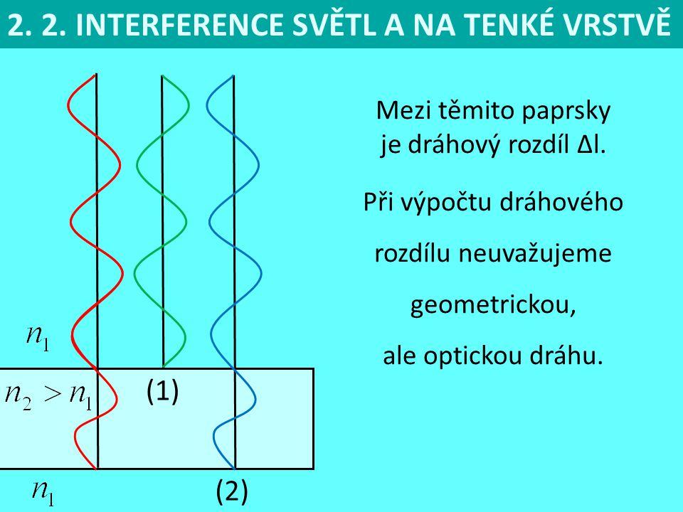 2.2. INTERFERENCE SVĚTL A NA TENKÉ VRSTVĚ (1) Mezi těmito paprsky je dráhový rozdíl Δl.