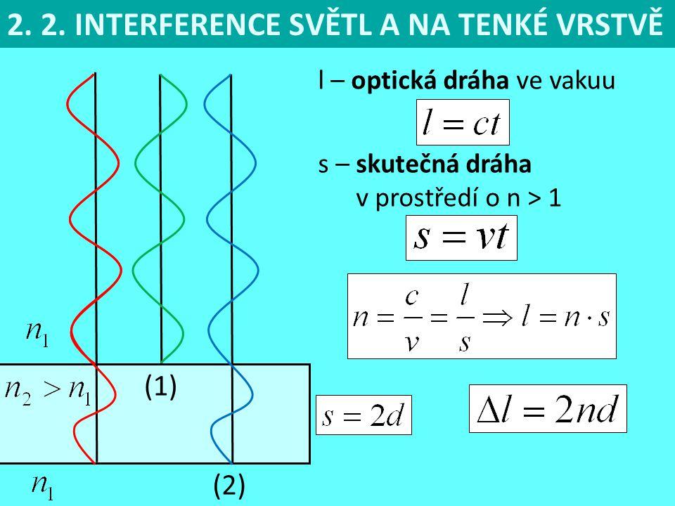 2. 2. INTERFERENCE SVĚTL A NA TENKÉ VRSTVĚ (1) l – optická dráha ve vakuu s – skutečná dráha v prostředí o n > 1 (2)