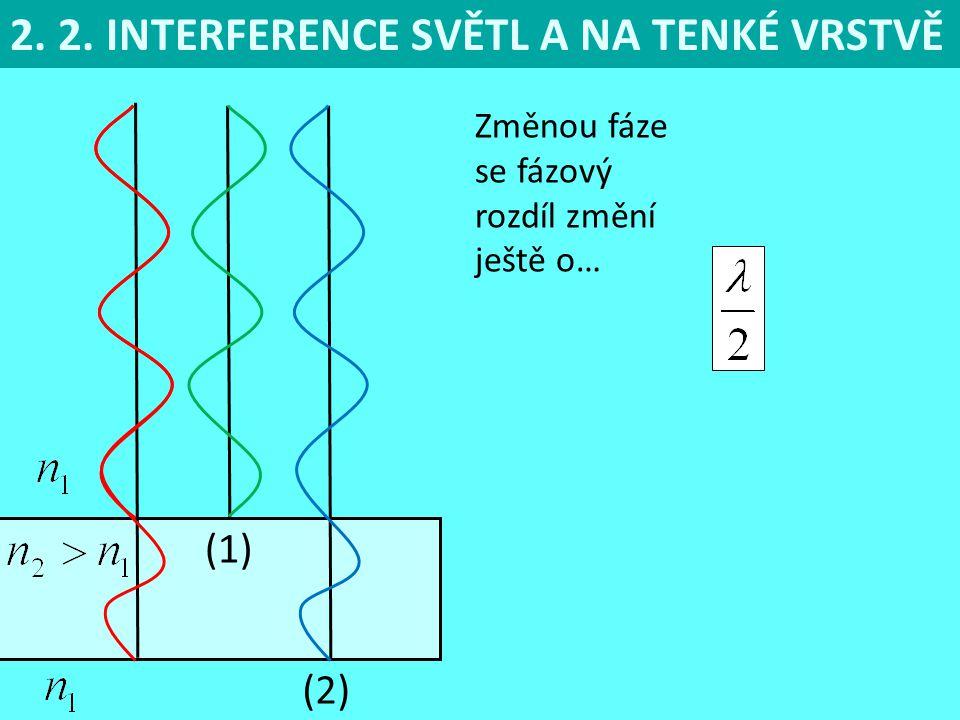 2. 2. INTERFERENCE SVĚTL A NA TENKÉ VRSTVĚ (1) (2) Změnou fáze se fázový rozdíl změní ještě o…