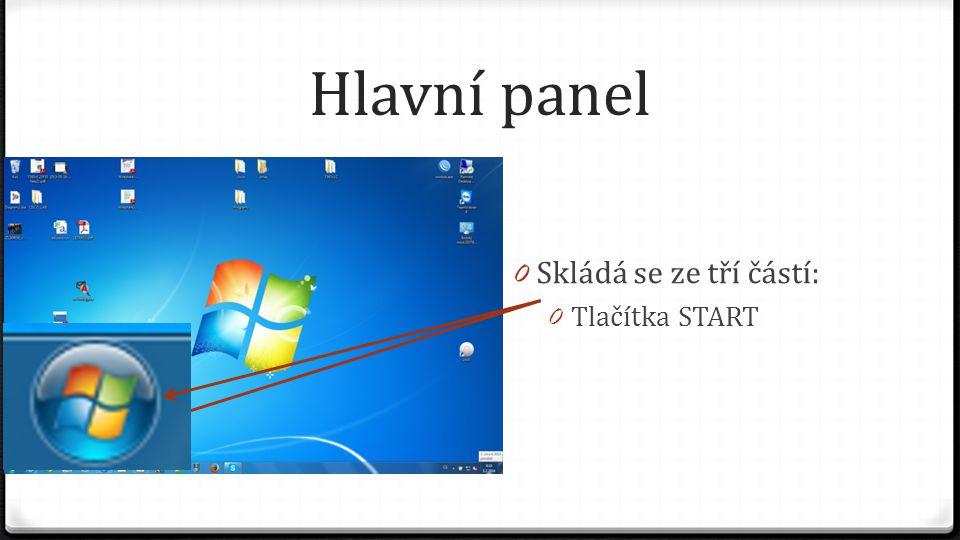 Hlavní panel 0 Skládá se ze tří částí: 0 Tlačítka START