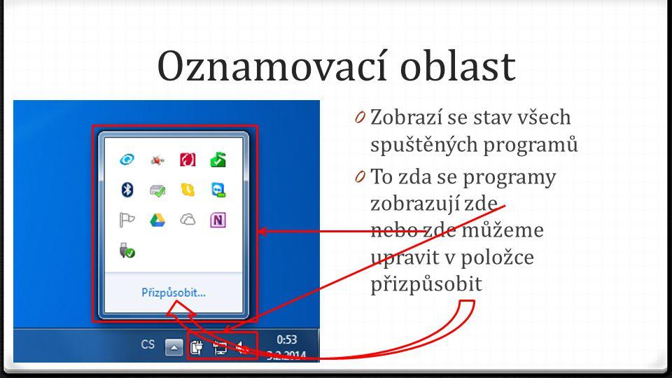 Oznamovací oblast 0 Zobrazí se stav všech spuštěných programů 0 To zda se programy zobrazují zde nebo zde můžeme upravit v položce přizpůsobit