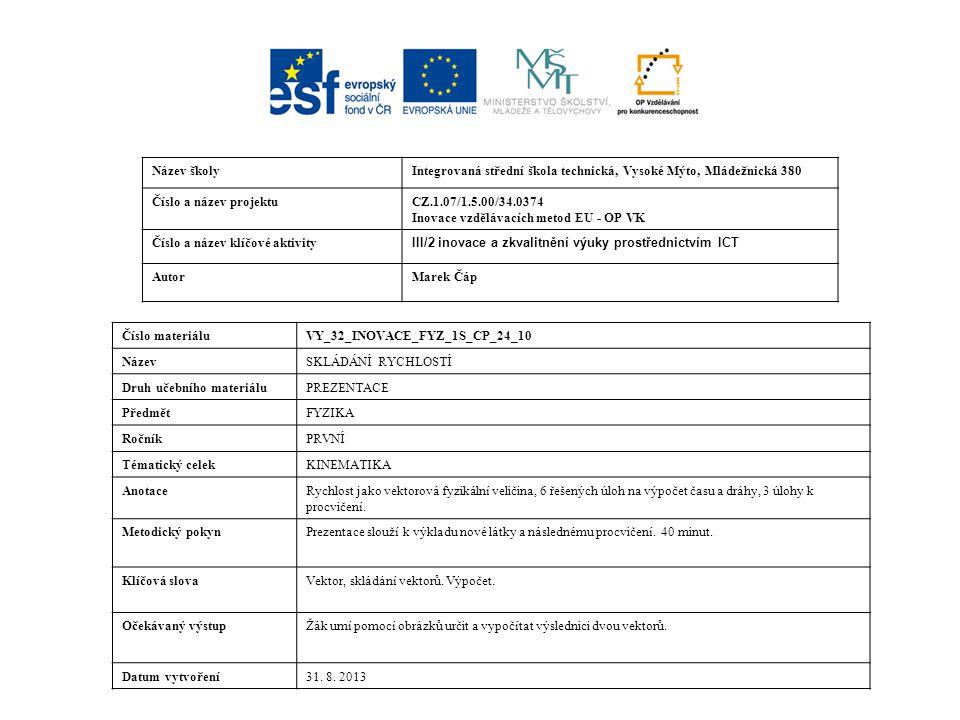 Název školyIntegrovaná střední škola technická, Vysoké Mýto, Mládežnická 380 Číslo a název projektuCZ.1.07/1.5.00/34.0374 Inovace vzdělávacích metod EU - OP VK Číslo a název klíčové aktivity III/2 inovace a zkvalitnění výuky prostřednictvím ICT AutorMarek Čáp Číslo materiáluVY_32_INOVACE_FYZ_1S_CP_24_10 NázevSKLÁDÁNÍ RYCHLOSTÍ Druh učebního materiáluPREZENTACE PředmětFYZIKA RočníkPRVNÍ Tématický celekKINEMATIKA AnotaceRychlost jako vektorová fyzikální veličina, 6 řešených úloh na výpočet času a dráhy, 3 úlohy k procvičení.