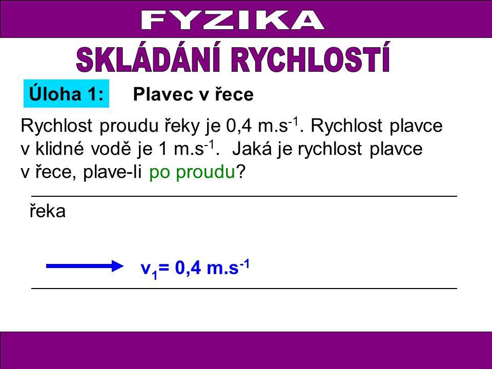 Úloha 8: Loďka má vzhledem k vodě rychlost 5,2 m.s -1, rychlost proudu v řece je 2,4 m.s -1.