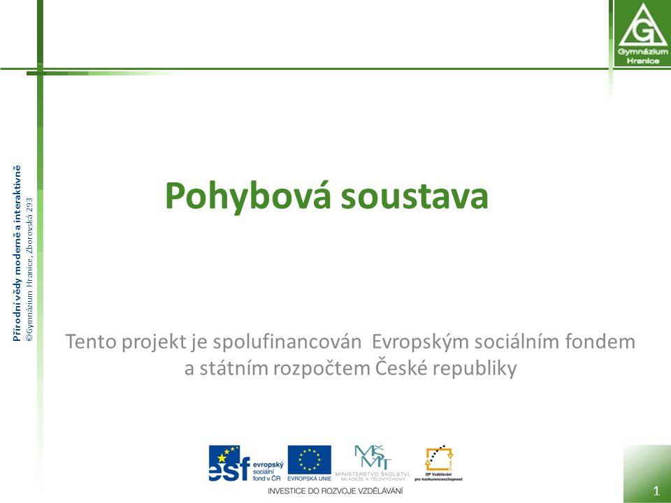 Přírodní vědy moderně a interaktivně ©Gymnázium Hranice, Zborovská 293 Pohybová soustava 1 Tento projekt je spolufinancován Evropským sociálním fondem