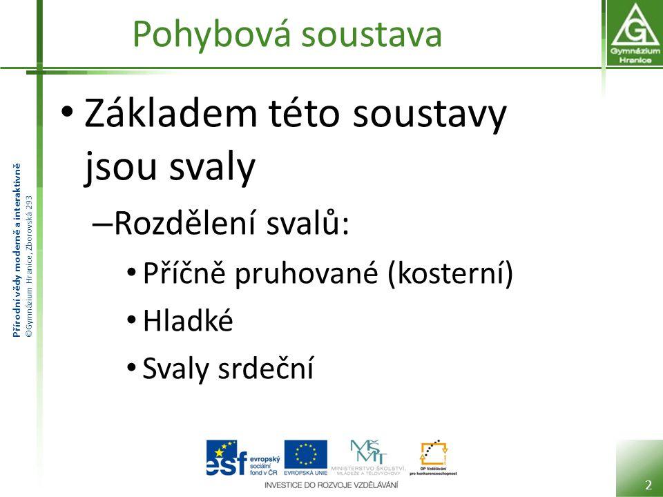 Přírodní vědy moderně a interaktivně ©Gymnázium Hranice, Zborovská 293 Svaly příčně pruhované Upínají se na kostru a umožňují nám pohyb.