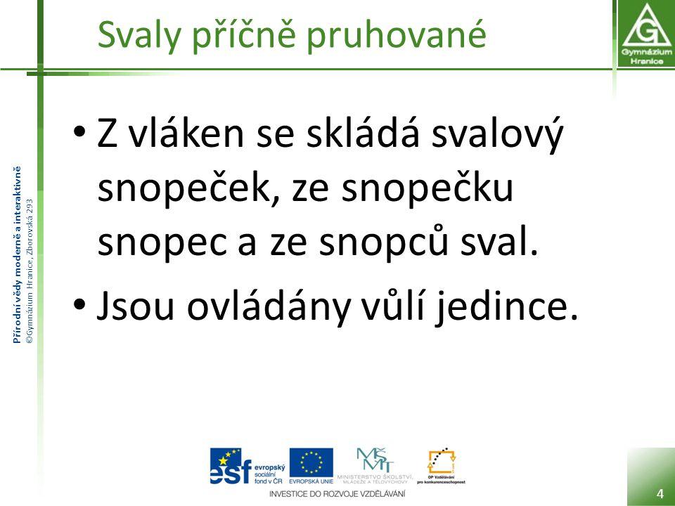 Přírodní vědy moderně a interaktivně ©Gymnázium Hranice, Zborovská 293 Svaly příčně pruhované 5
