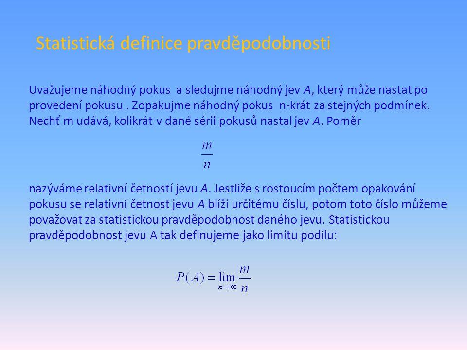 Statistická definice pravděpodobnosti Uvažujeme náhodný pokus a sledujme náhodný jev A, který může nastat po provedení pokusu. Zopakujme náhodný pokus