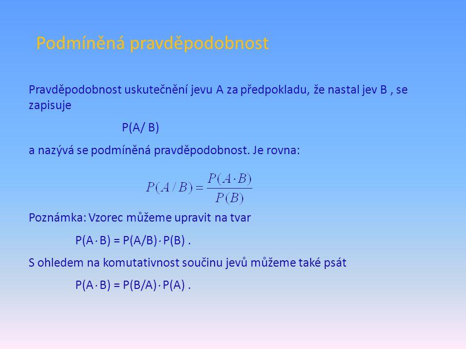Podmíněná pravděpodobnost Pravděpodobnost uskutečnění jevu A za předpokladu, že nastal jev B, se zapisuje P(A/ B) a nazývá se podmíněná pravděpodobnos