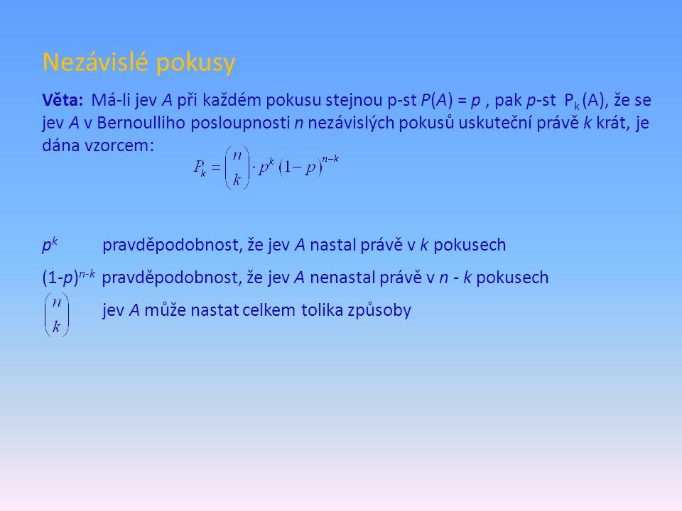 Nezávislé pokusy Věta: Má-li jev A při každém pokusu stejnou p-st P(A) = p, pak p-st P k (A), že se jev A v Bernoulliho posloupnosti n nezávislých pok