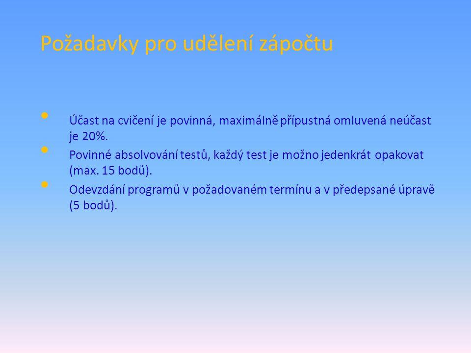 Požadavky ke zkoušce Zkouška se skládá z části písemné (praktické - příklady) a části ústní (teoretické).