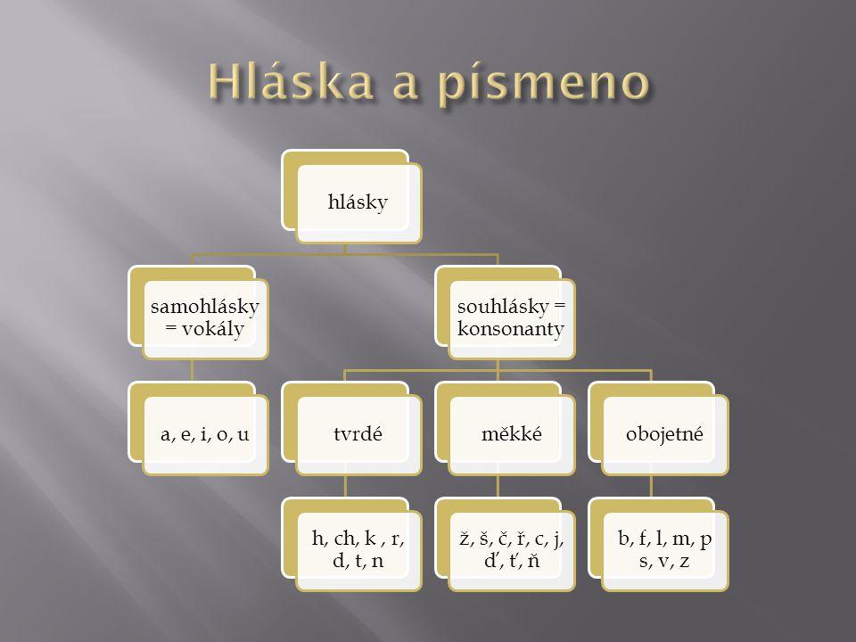 hlásky samohlásky = vokály a, e, i, o, u souhlásky = konsonanty tvrdé h, ch, k, r, d, t, n měkké ž, š, č, ř, c, j, ď, ť, ň obojetné b, f, l, m, p s, v, z