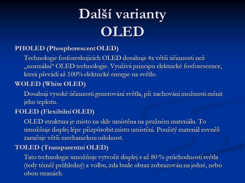 """Další varianty OLED PHOLED (Phosphorescent OLED) Technologie fosforeskujících OLED dosahuje 4x větší účinnosti než """"normální"""" OLED technologie. Využív"""