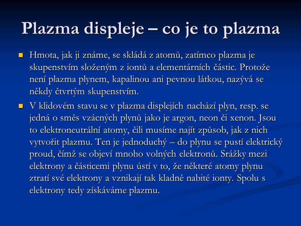 Plazma displeje – co je to plazma Hmota, jak ji známe, se skládá z atomů, zatímco plazma je skupenstvím složeným z iontů a elementárních částic. Proto