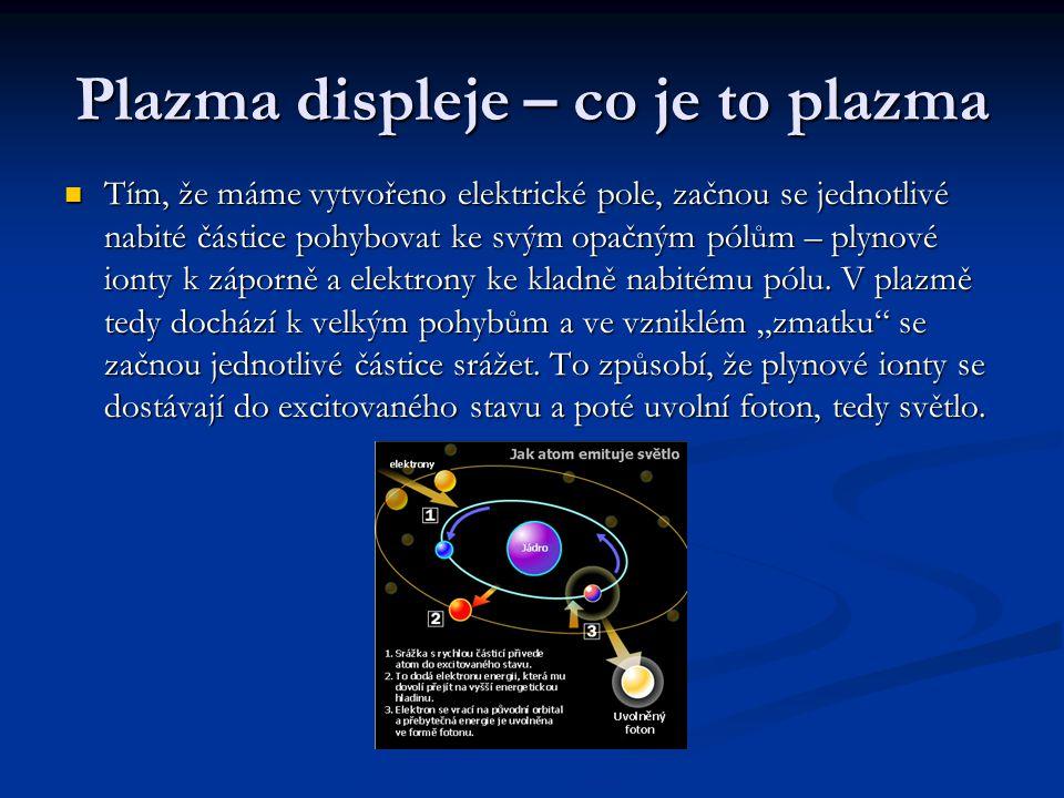 Plazma displeje – co je to plazma Tím, že máme vytvořeno elektrické pole, začnou se jednotlivé nabité částice pohybovat ke svým opačným pólům – plynové ionty k záporně a elektrony ke kladně nabitému pólu.