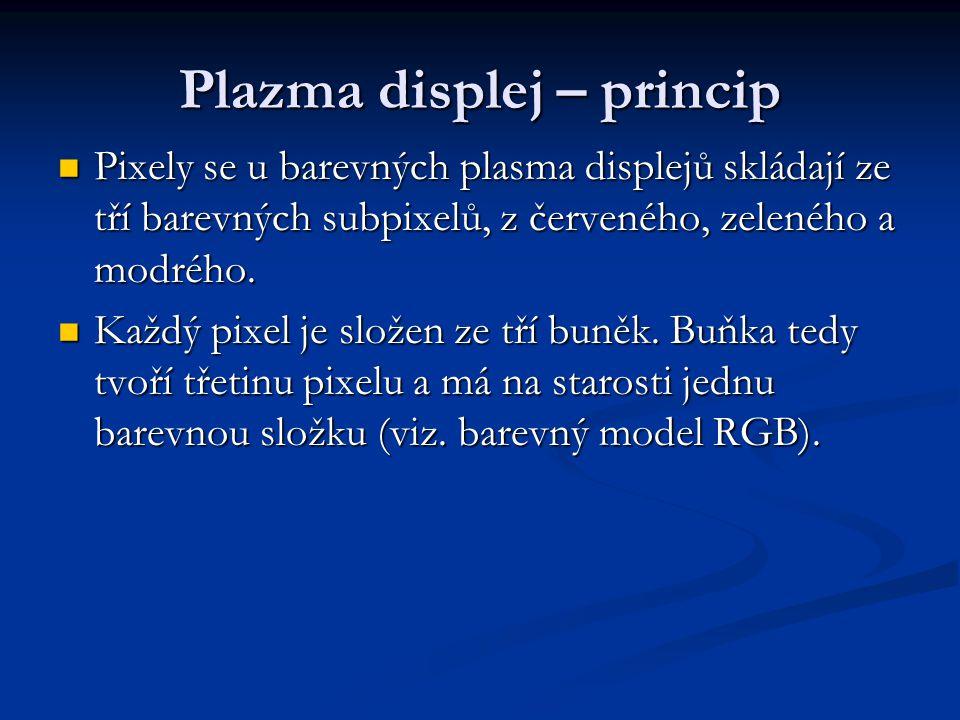 Plazma displej – princip Pixely se u barevných plasma displejů skládají ze tří barevných subpixelů, z červeného, zeleného a modrého. Pixely se u barev