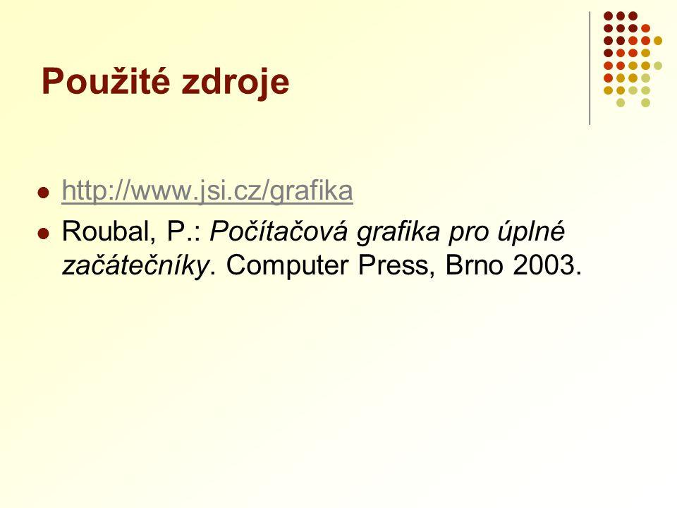 Použité zdroje http://www.jsi.cz/grafika Roubal, P.: Počítačová grafika pro úplné začátečníky. Computer Press, Brno 2003.