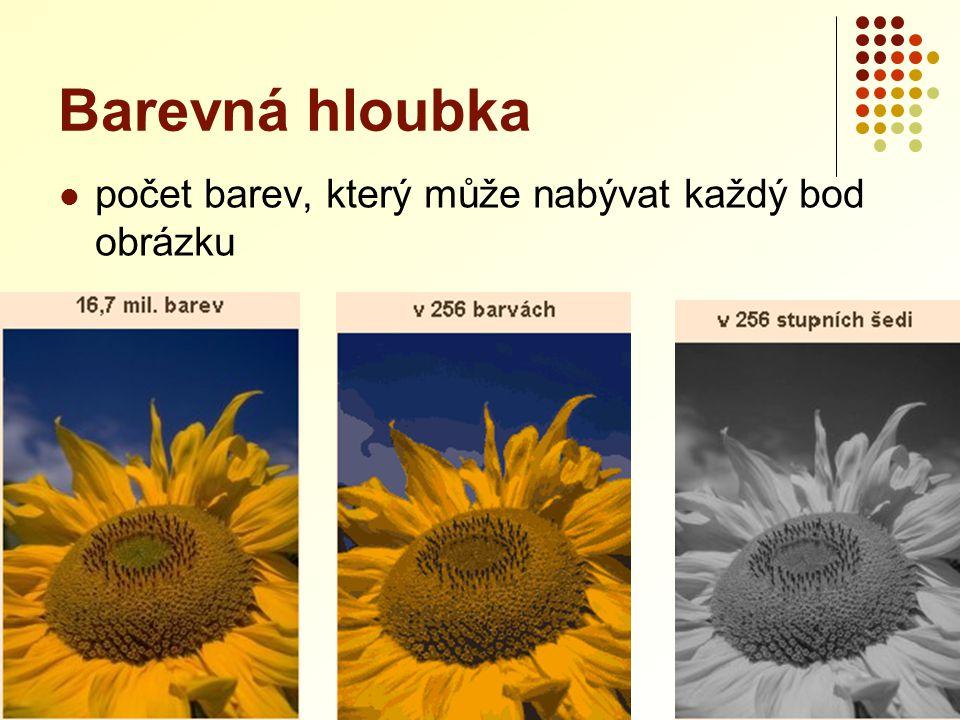 Barevná hloubka Dvoubarevná grafika  černobílý obrázek bez odstínů šedi  zachycení informace stačí 1 bit  1 – černá barva  0 – bílá barva